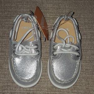 Gymboree Silver Boat Shoes Kids Size 5 NWT